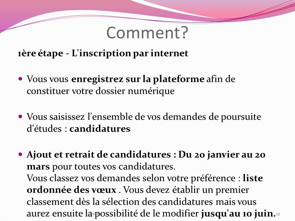 Comment 1ère étape - L inscription par internet