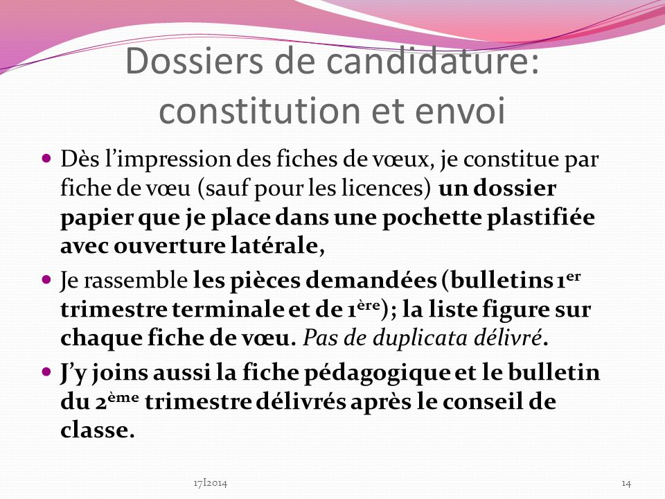 Dossiers de candidature: constitution et envoi
