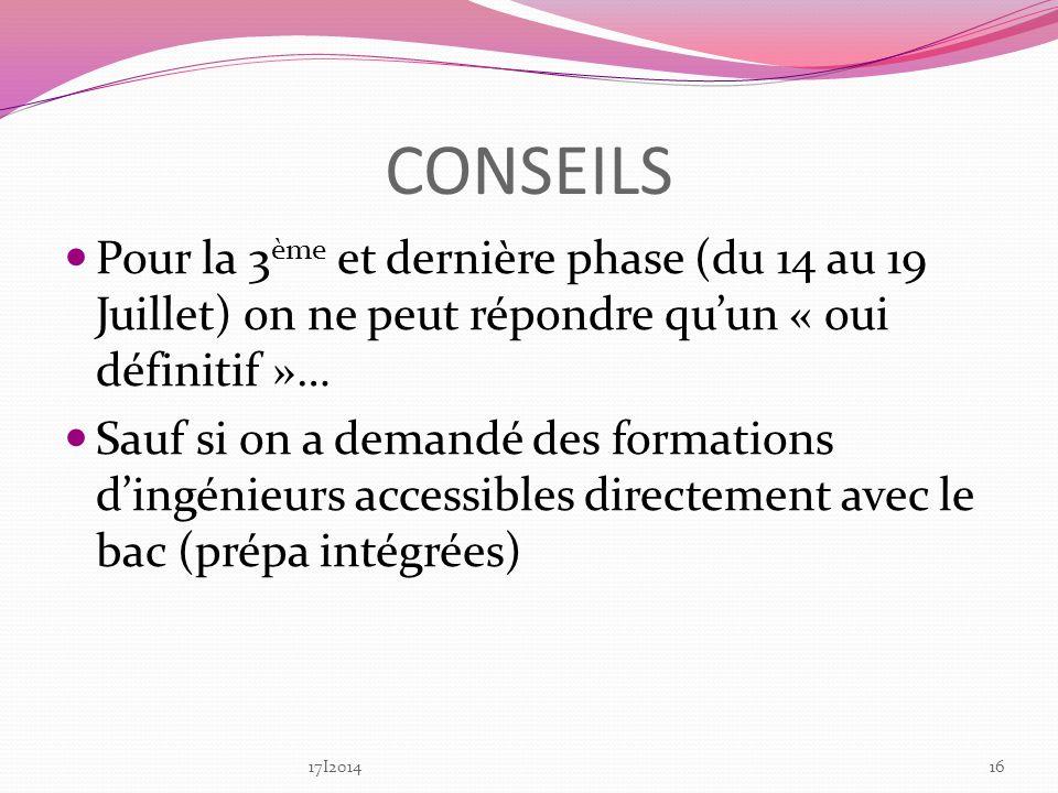 CONSEILS Pour la 3ème et dernière phase (du 14 au 19 Juillet) on ne peut répondre qu'un « oui définitif »…