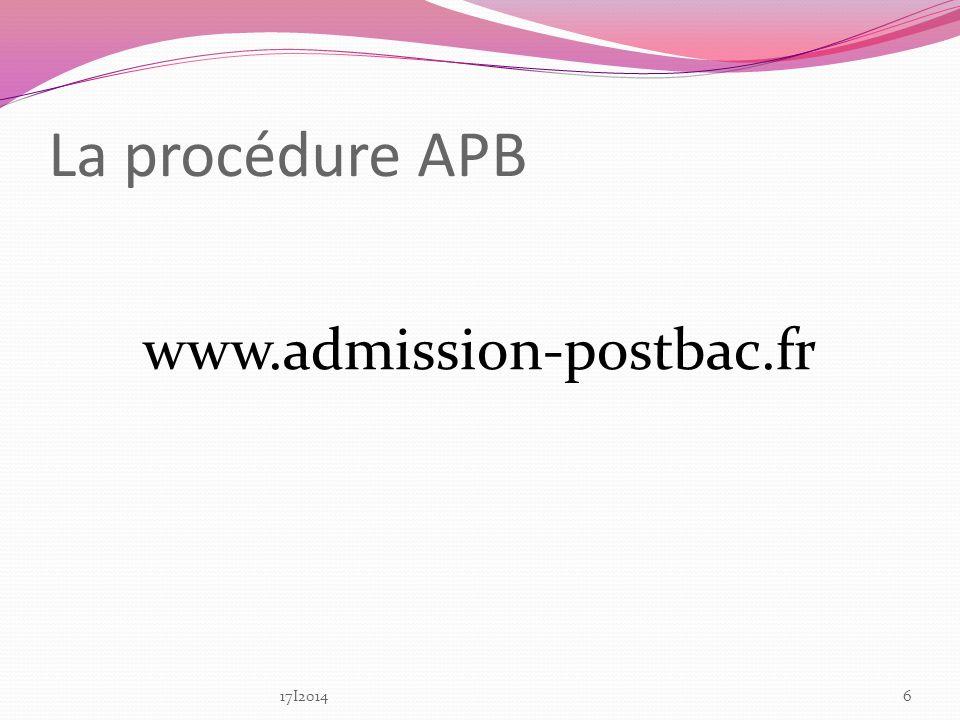 La procédure APB www.admission-postbac.fr 17I2014