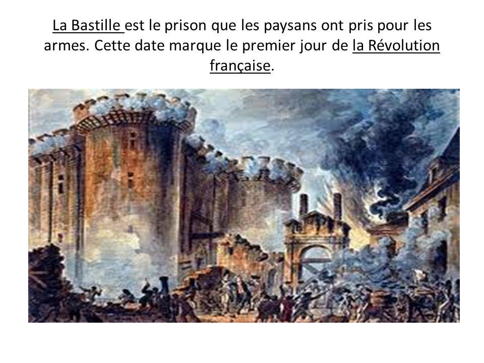 La Bastille est le prison que les paysans ont pris pour les armes