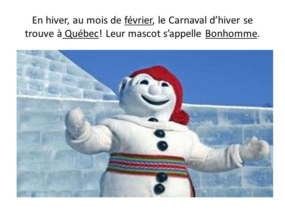 En hiver, au mois de février, le Carnaval d'hiver se trouve à Québec
