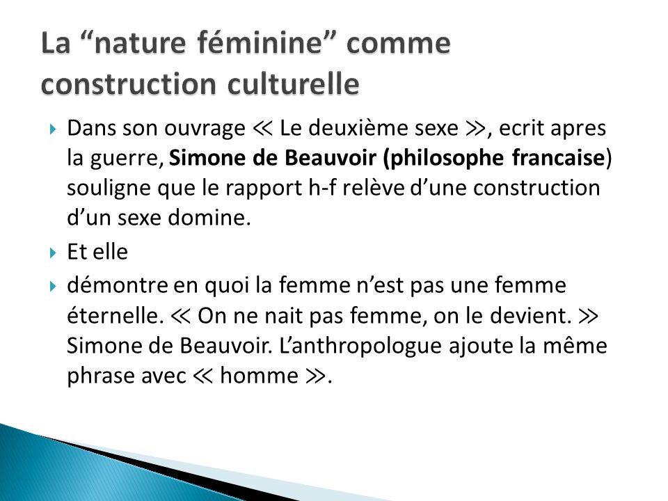 La nature féminine comme construction culturelle