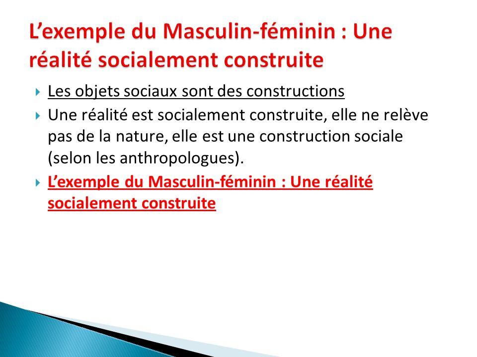 L'exemple du Masculin-féminin : Une réalité socialement construite