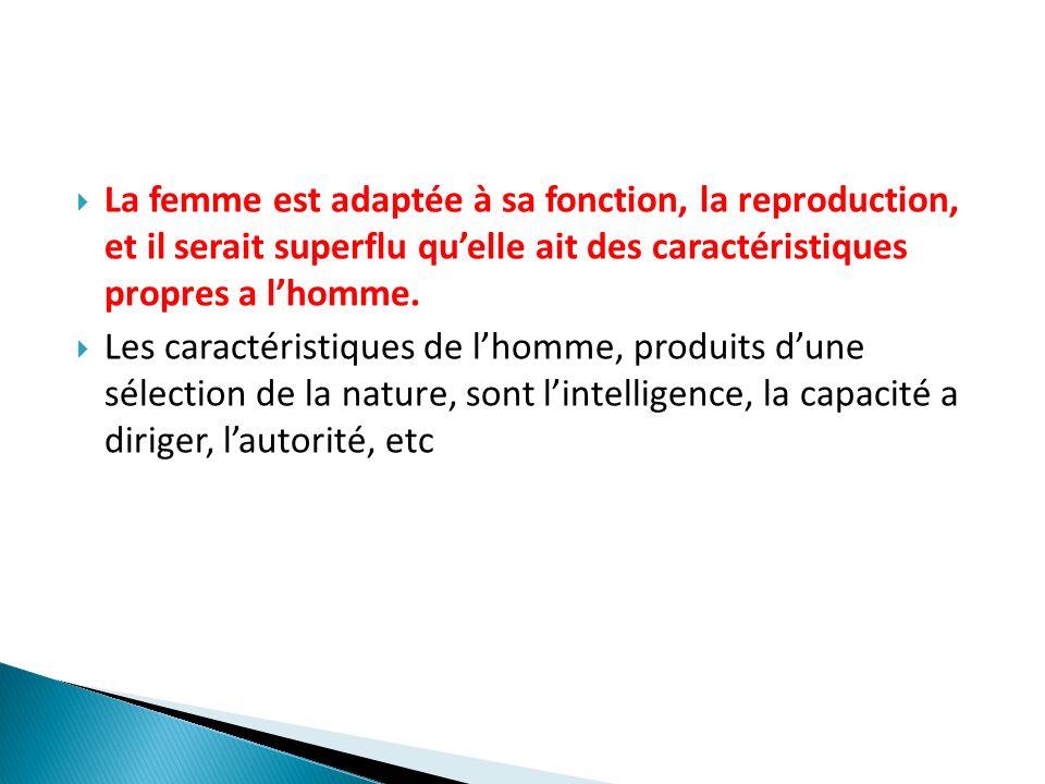 La femme est adaptée à sa fonction, la reproduction, et il serait superflu qu'elle ait des caractéristiques propres a l'homme.