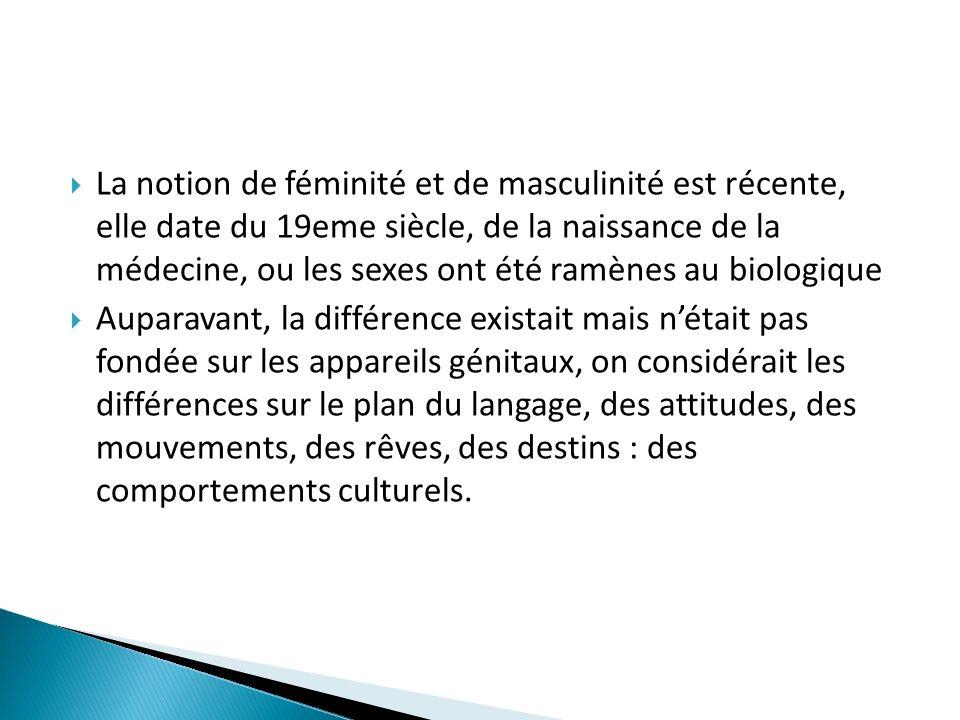 La notion de féminité et de masculinité est récente, elle date du 19eme siècle, de la naissance de la médecine, ou les sexes ont été ramènes au biologique