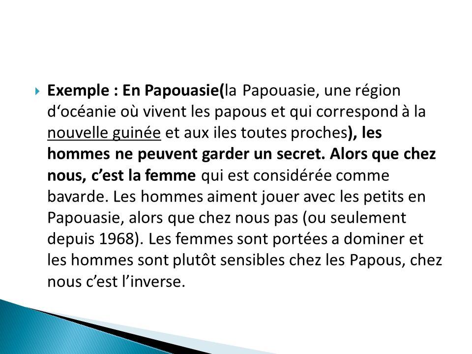 Exemple : En Papouasie(la Papouasie, une région d'océanie où vivent les papous et qui correspond à la nouvelle guinée et aux iles toutes proches), les hommes ne peuvent garder un secret.