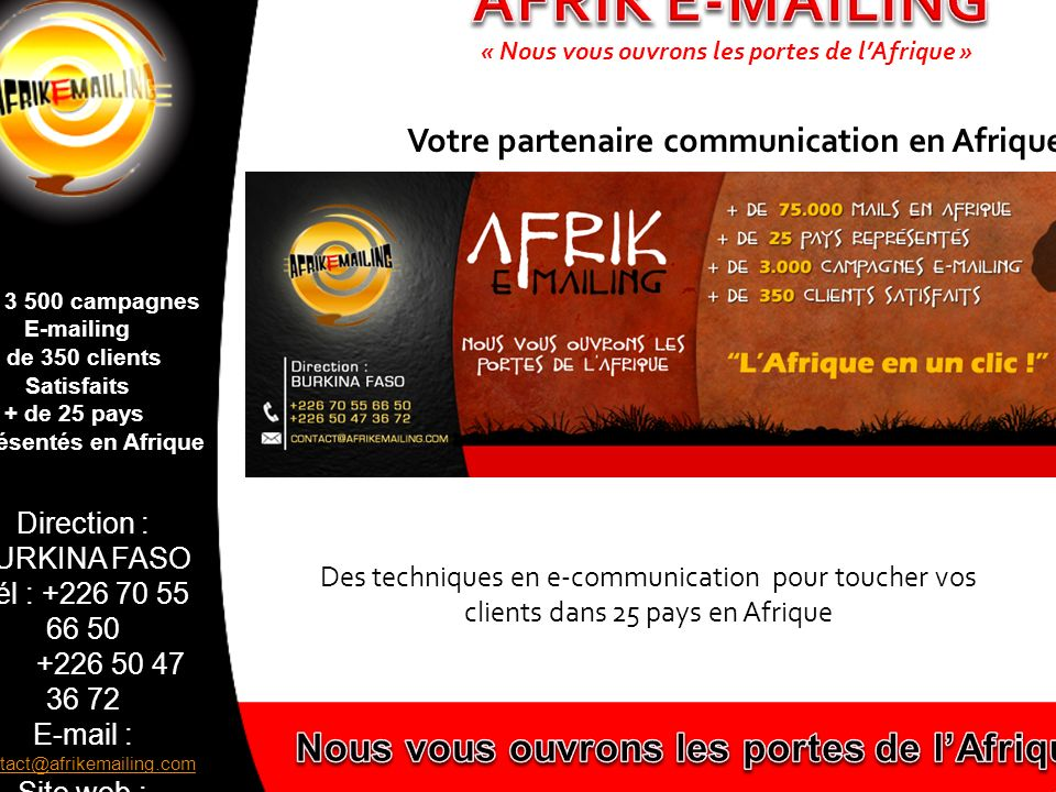 AFRIK E-MAILING Nous vous ouvrons les portes de l'Afrique!