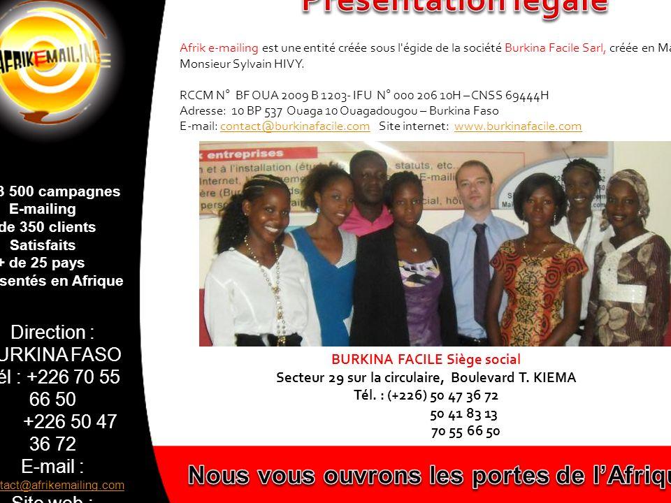 Présentation légale Nous vous ouvrons les portes de l'Afrique!