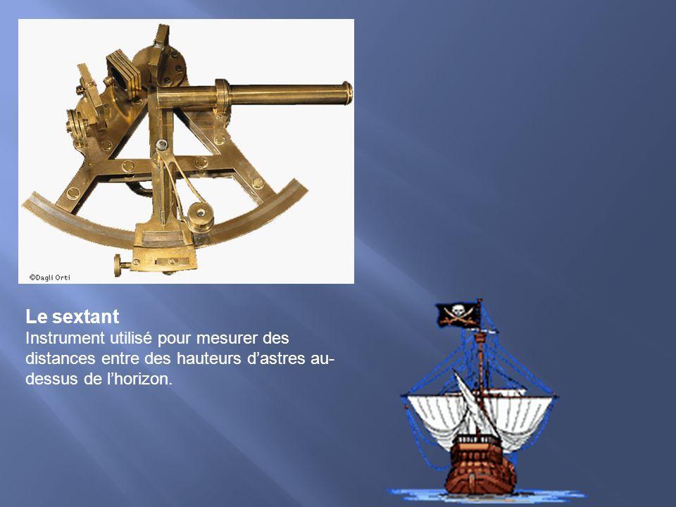 Le sextant Instrument utilisé pour mesurer des distances entre des hauteurs d'astres au-dessus de l'horizon.