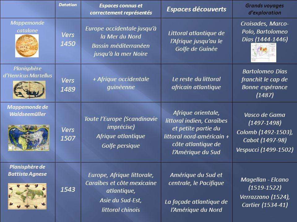 Espaces découverts Vers 1450 Vers 1489 Vers 1507 1543