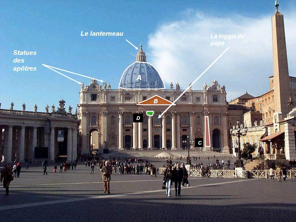 Le lanterneau La loggia du pape Statues des apôtres A B D C
