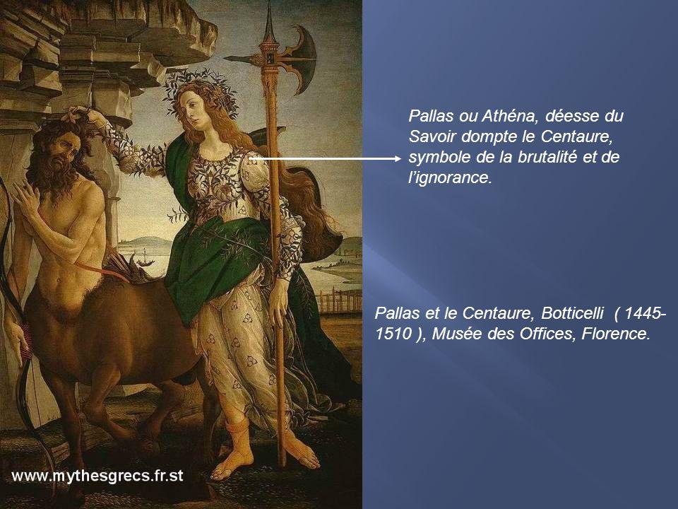 Pallas et le Centaure, Botticelli ( 1445-1510 ), Musée des Offices, Florence.