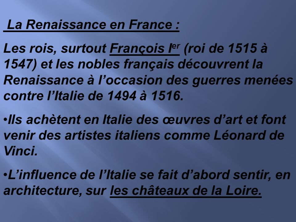 La Renaissance en France :