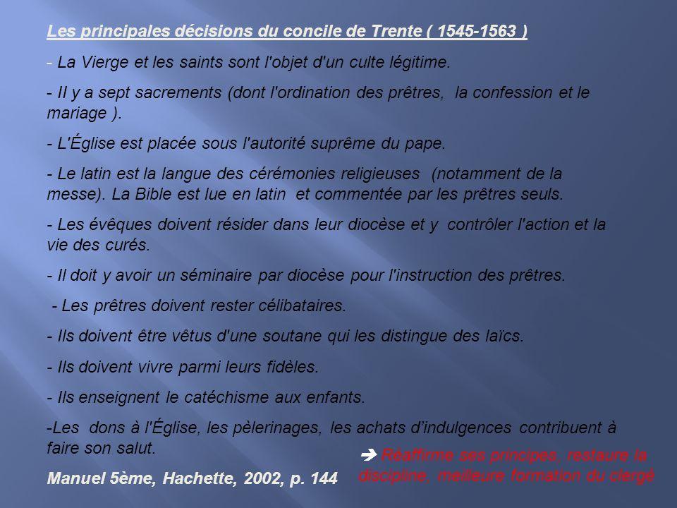 Les principales décisions du concile de Trente ( 1545-1563 )