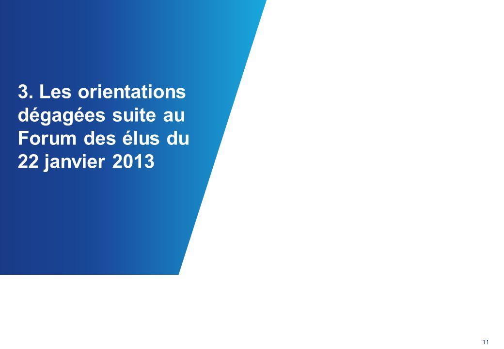 3. Les orientations dégagées suite au Forum des élus du 22 janvier 2013