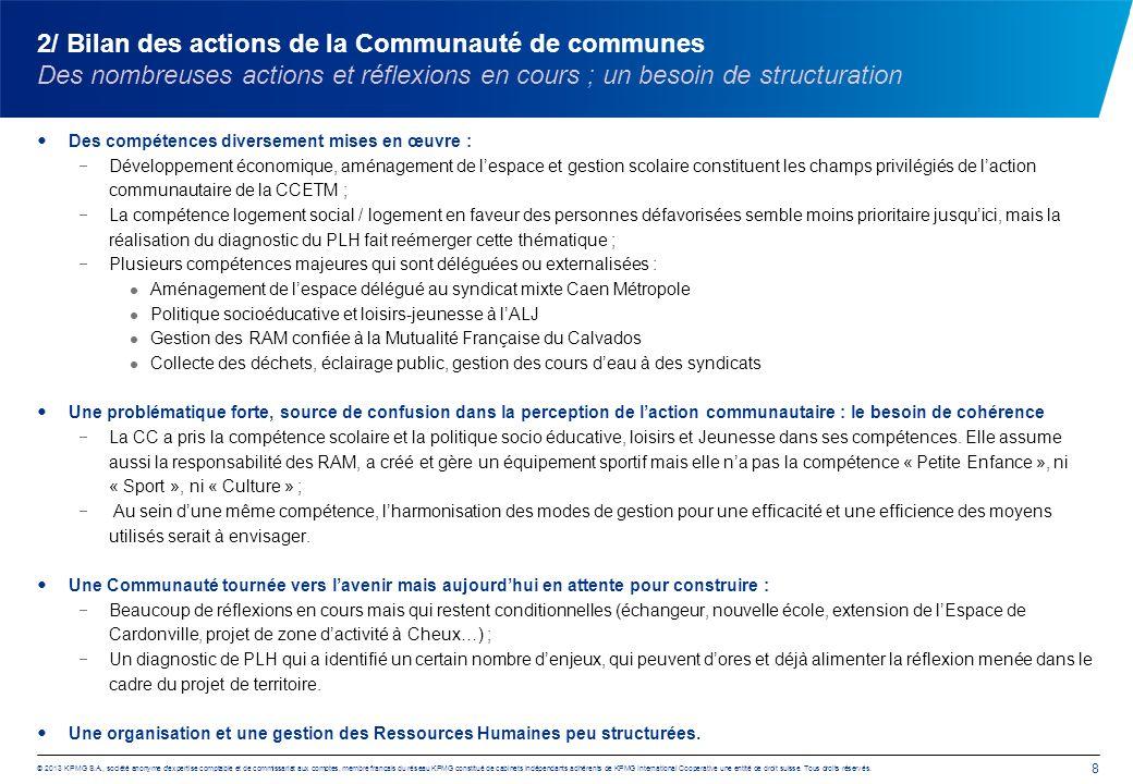 2/ Bilan des actions de la Communauté de communes Des nombreuses actions et réflexions en cours ; un besoin de structuration