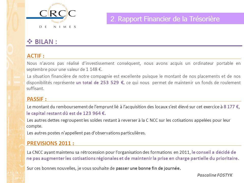 BILAN : 2. Rapport Financier de la Trésorière ACTIF : PASSIF :
