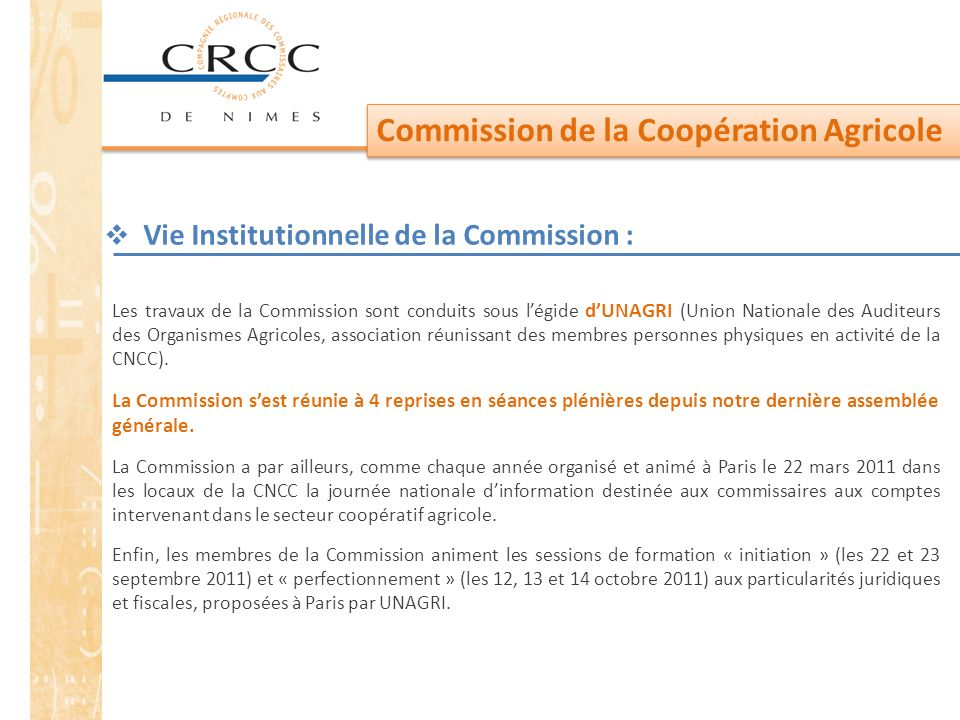 Vie Institutionnelle de la Commission :