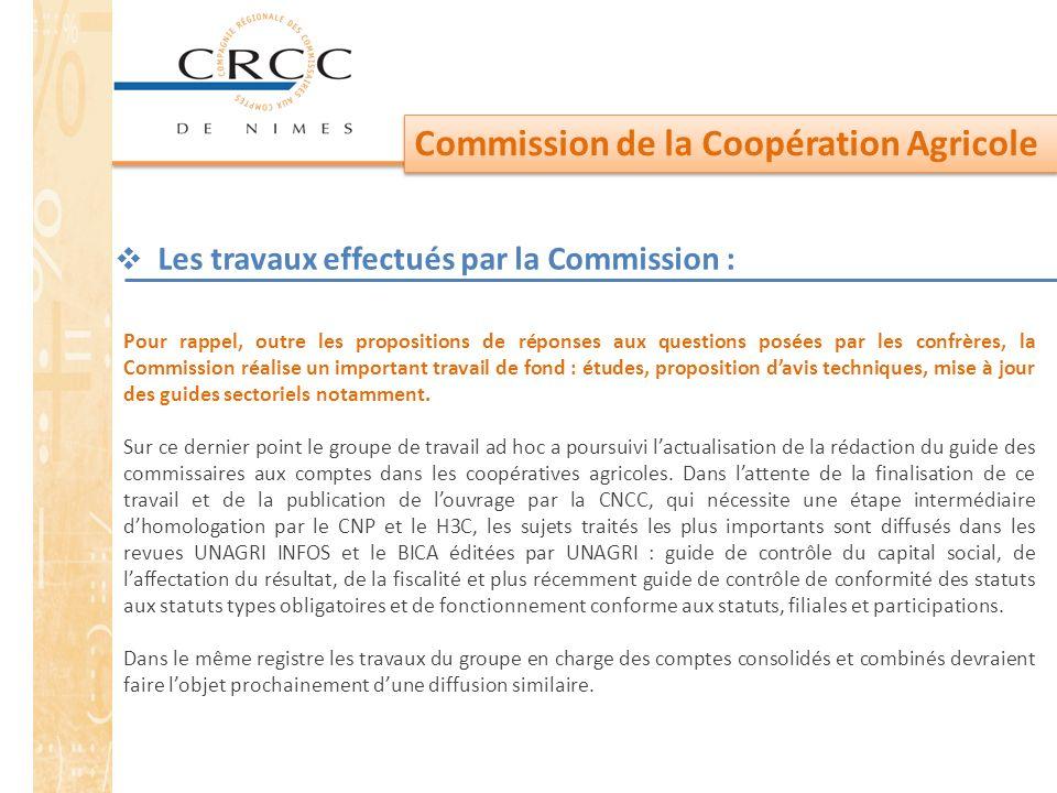 Les travaux effectués par la Commission :