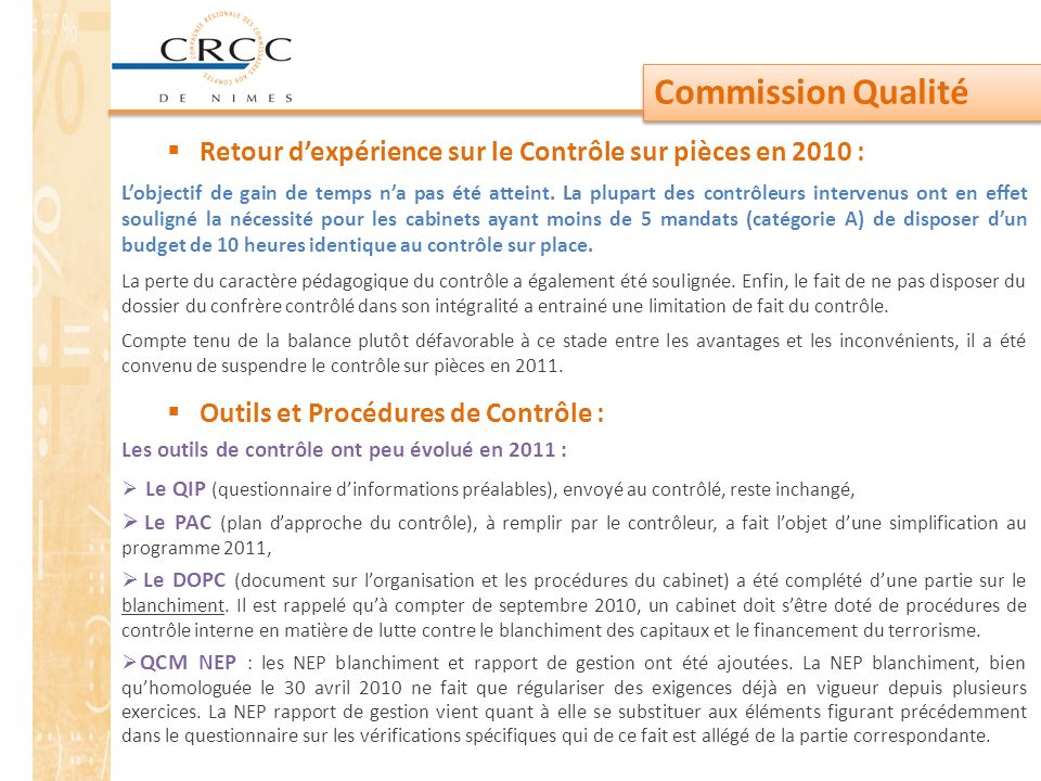 Commission Qualité Retour d'expérience sur le Contrôle sur pièces en 2010 :
