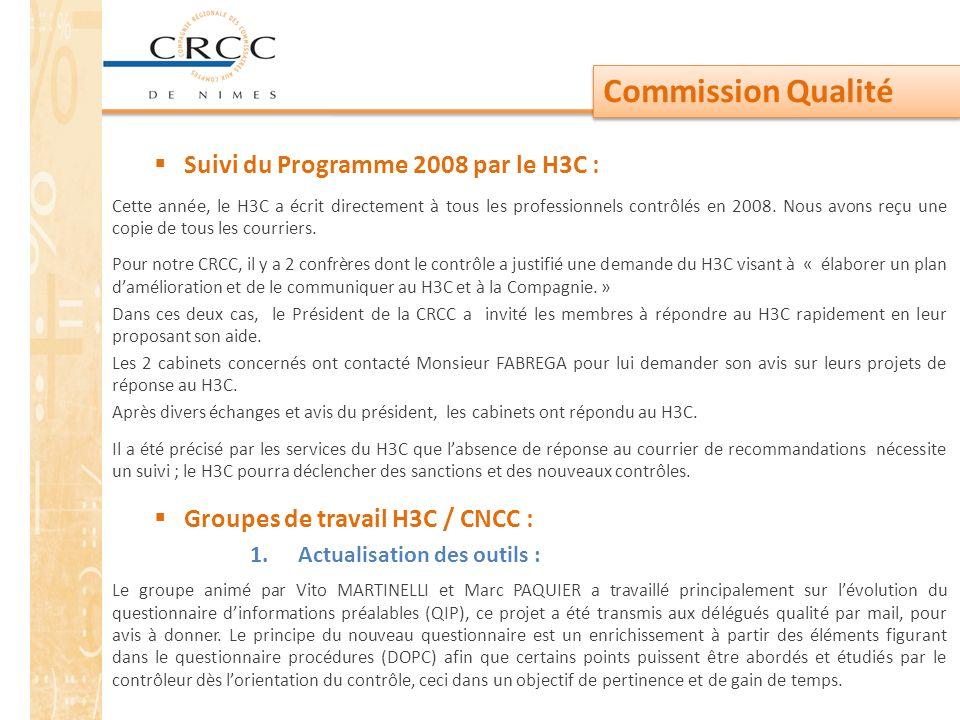Commission Qualité Suivi du Programme 2008 par le H3C :