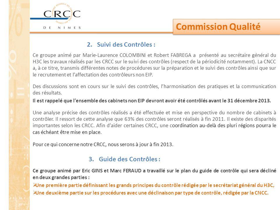 Commission Qualité 2. Suivi des Contrôles :