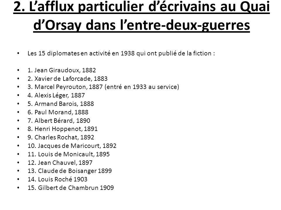 2. L'afflux particulier d'écrivains au Quai d'Orsay dans l'entre-deux-guerres