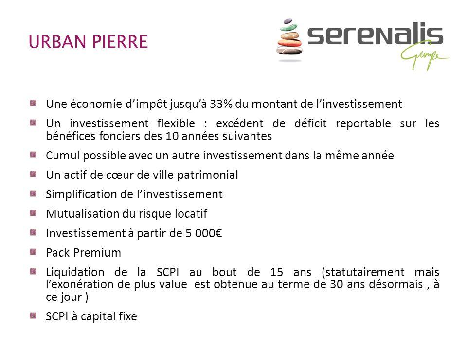 URBAN PIERRE Une économie d'impôt jusqu'à 33% du montant de l'investissement.