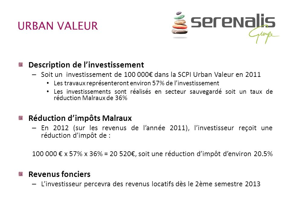 URBAN VALEUR Description de l'investissement