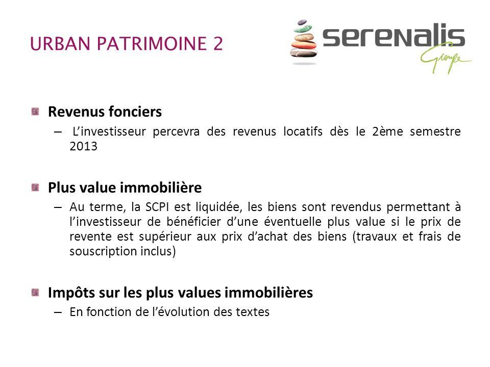 URBAN PATRIMOINE 2 Revenus fonciers Plus value immobilière