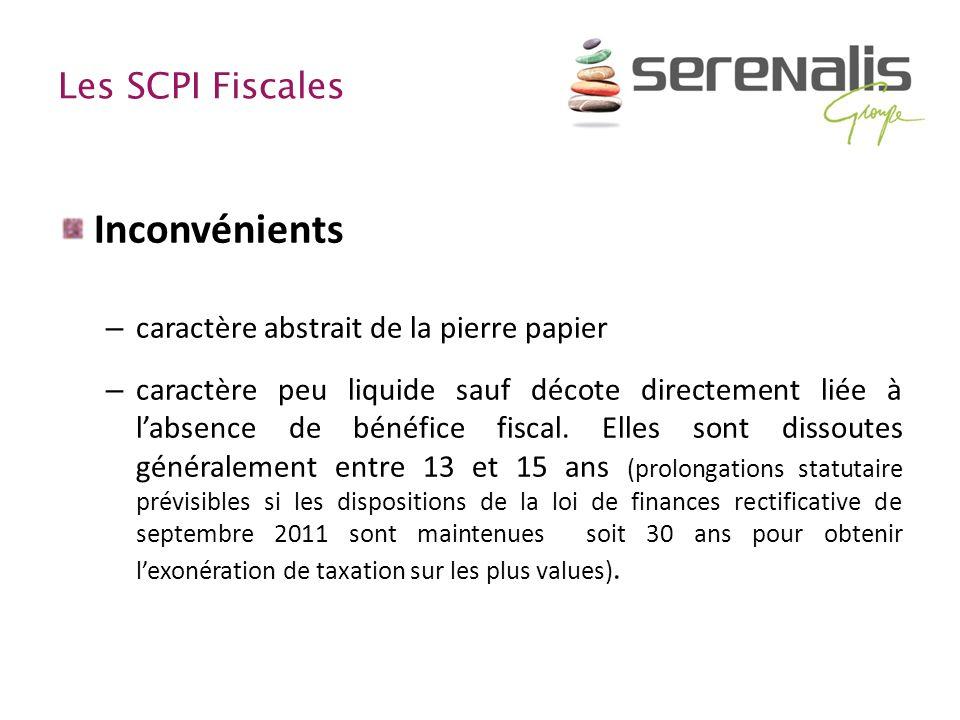 Inconvénients Les SCPI Fiscales caractère abstrait de la pierre papier