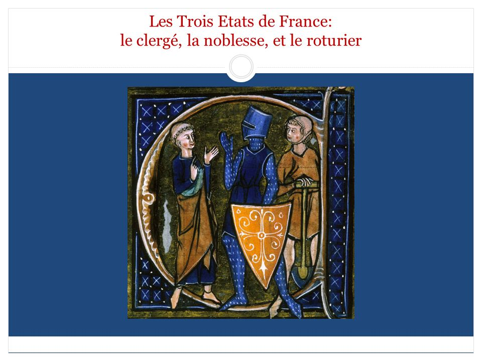 Les Trois Etats de France: le clergé, la noblesse, et le roturier