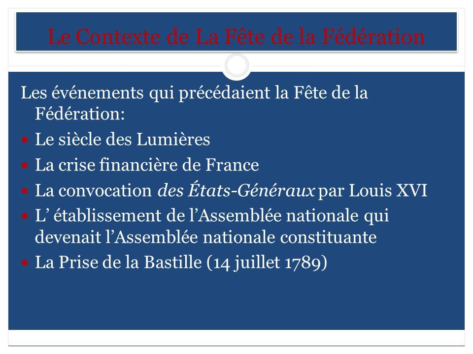 Le Contexte de La Fête de la Fédération