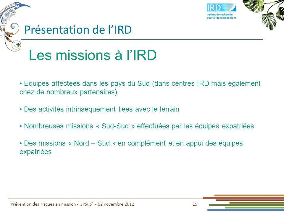 Les missions à l'IRD Présentation de l'IRD