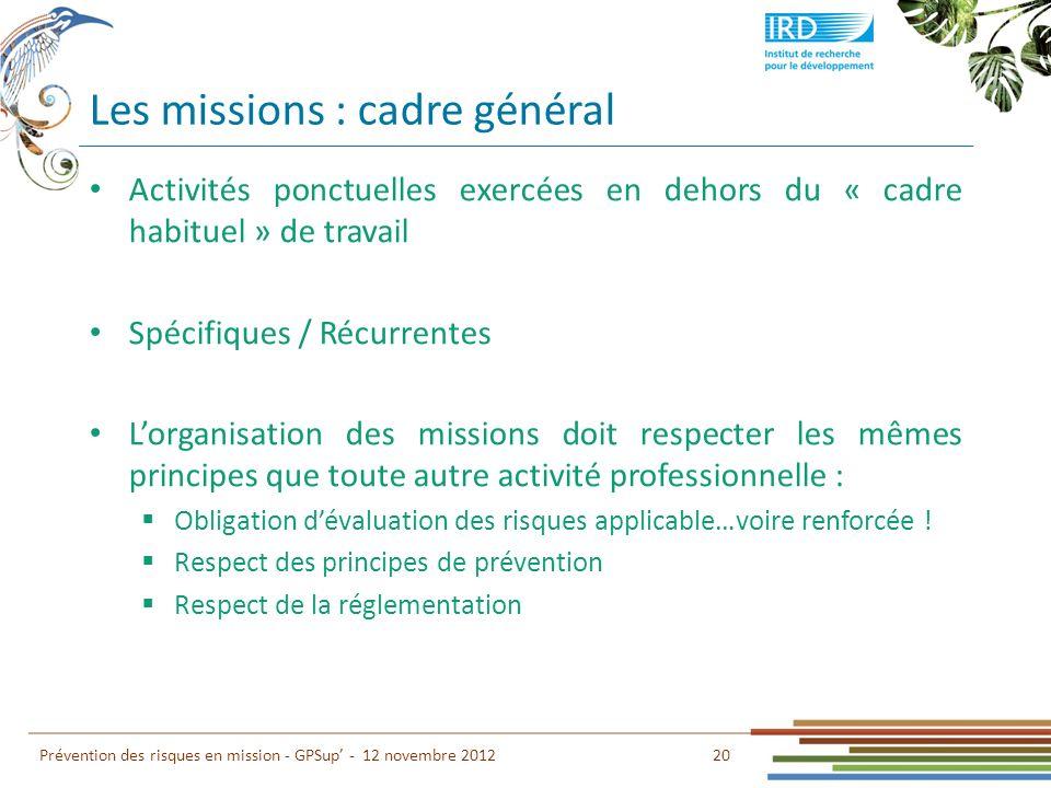 Les missions : cadre général