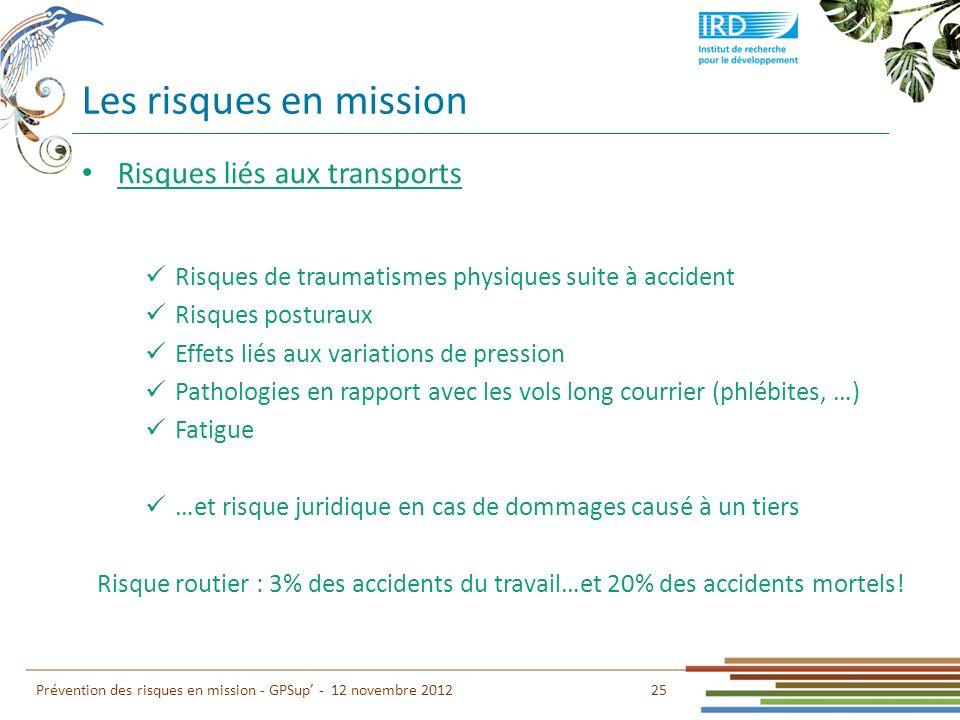 Les risques en mission Risques liés aux transports