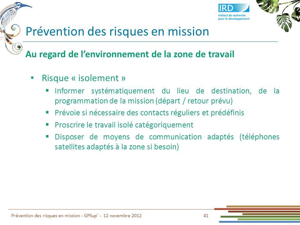 Prévention des risques en mission