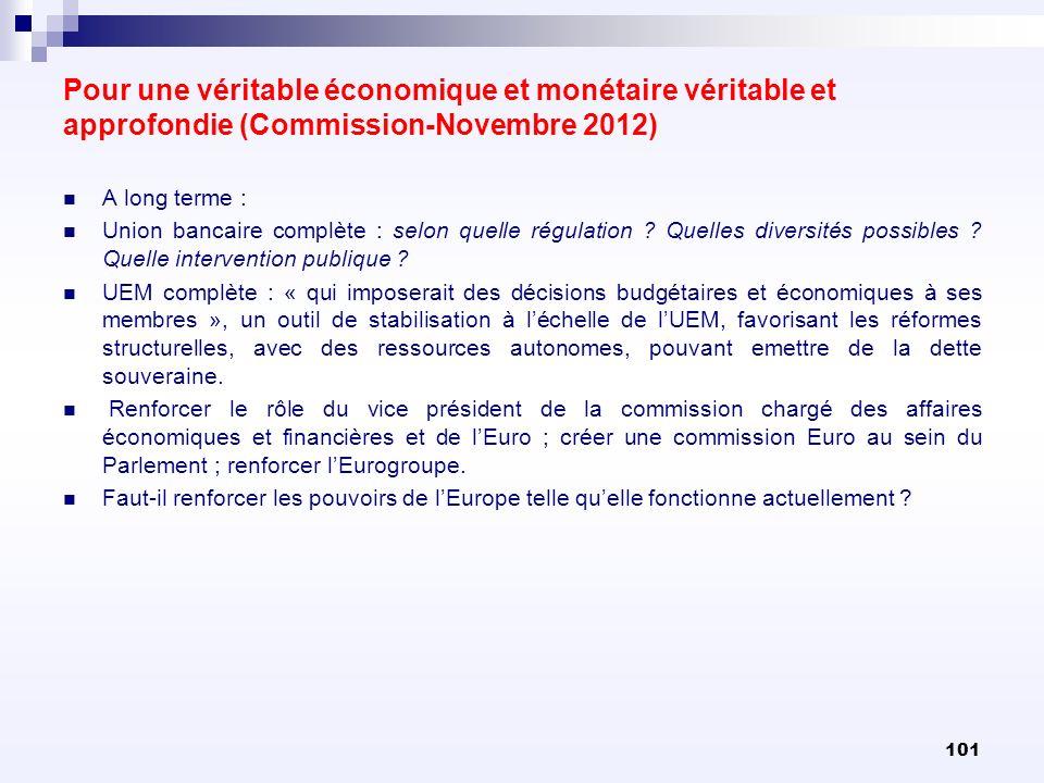 Pour une véritable économique et monétaire véritable et approfondie (Commission-Novembre 2012)