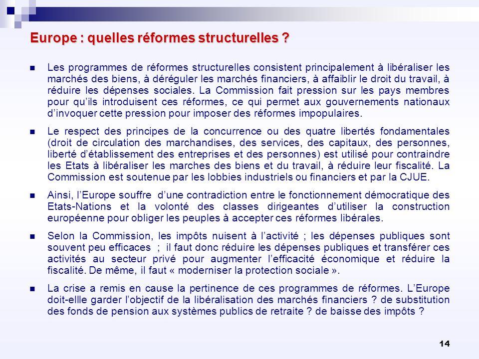 Europe : quelles réformes structurelles