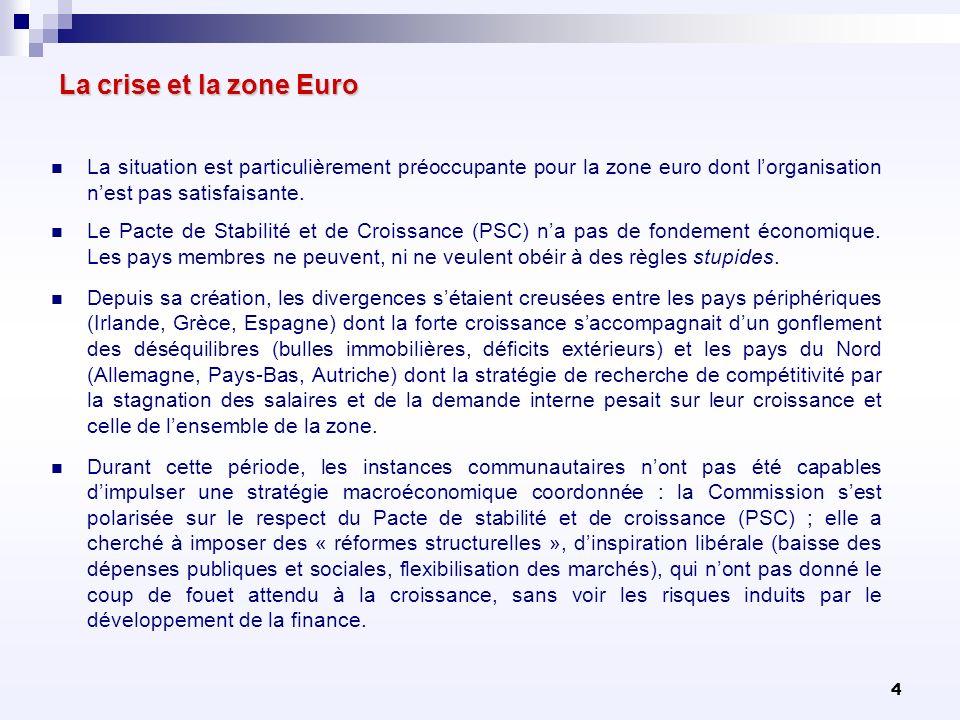 La crise et la zone EuroLa situation est particulièrement préoccupante pour la zone euro dont l'organisation n'est pas satisfaisante.
