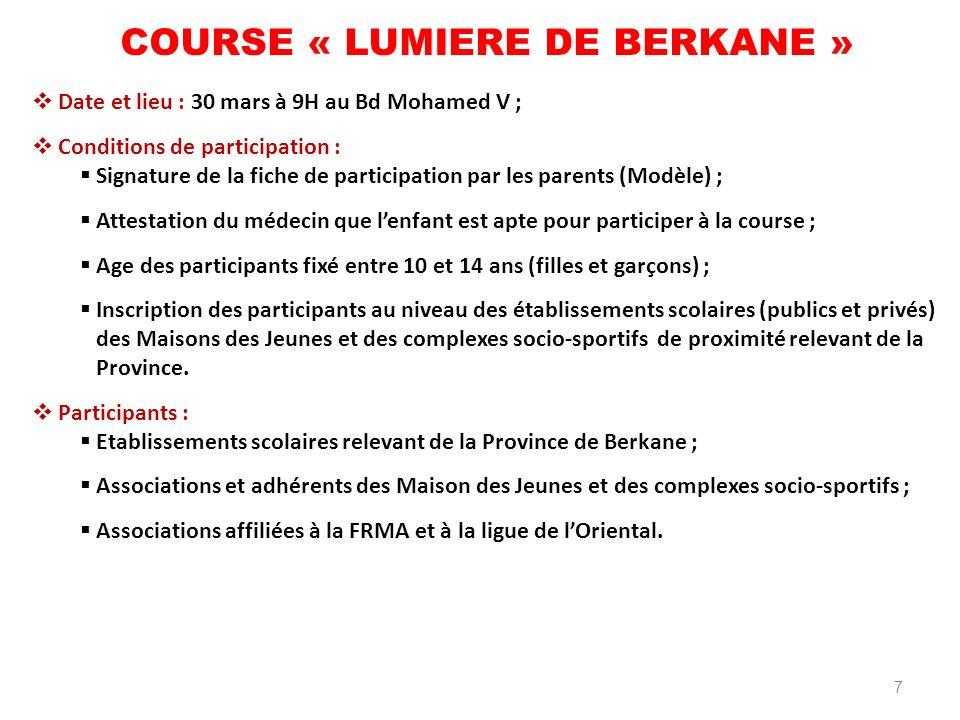 COURSE « LUMIERE DE BERKANE »