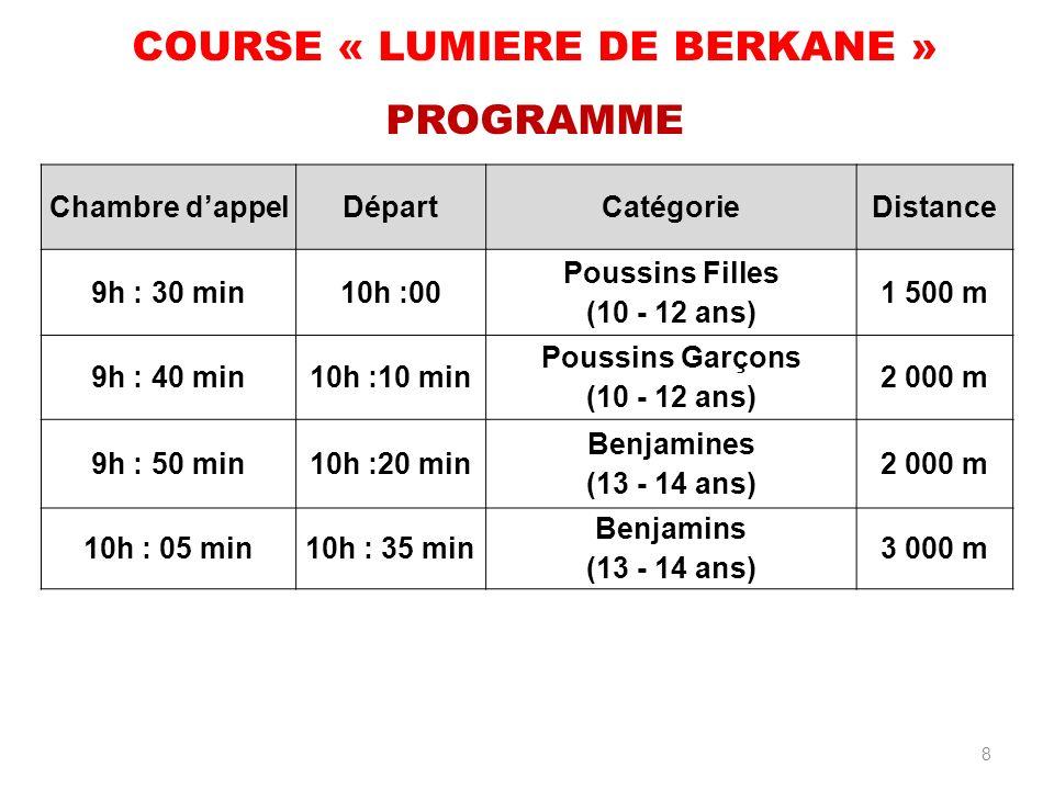 COURSE « LUMIERE DE BERKANE » PROGRAMME