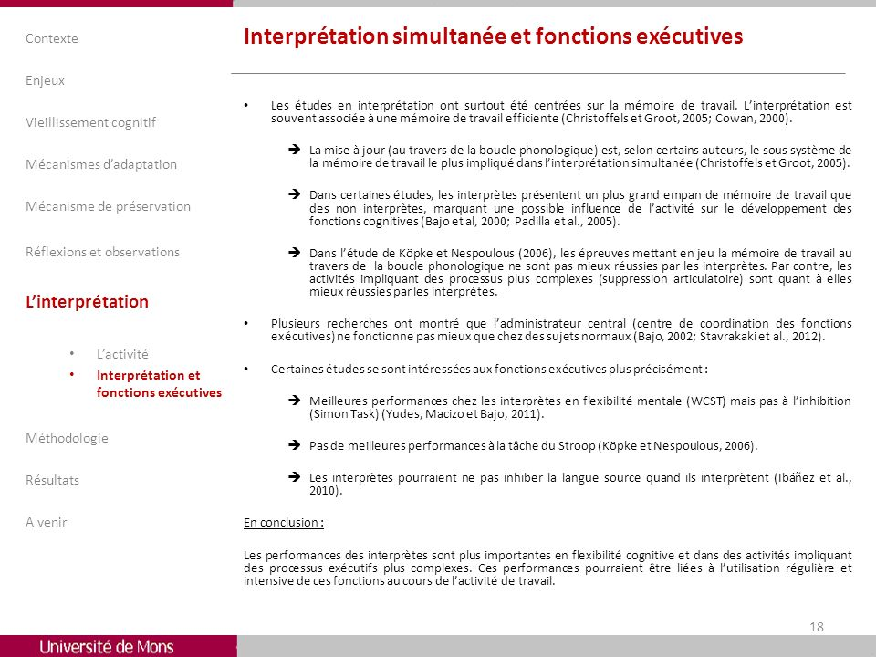 Interprétation simultanée et fonctions exécutives