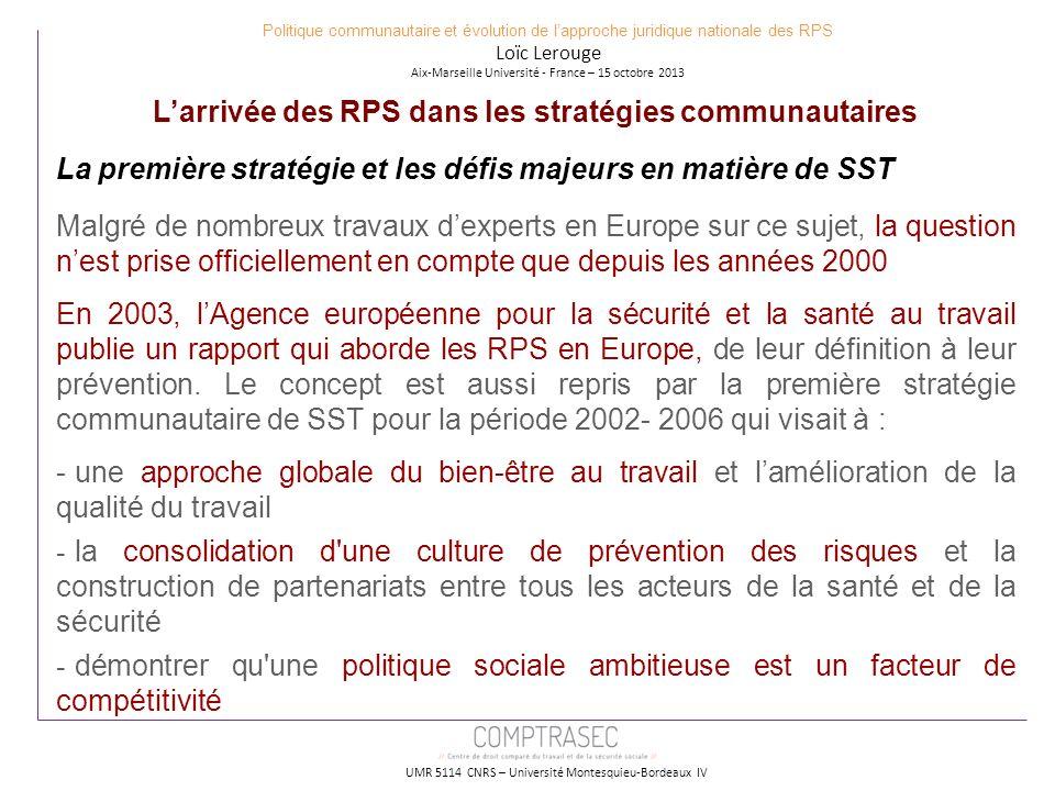 L'arrivée des RPS dans les stratégies communautaires