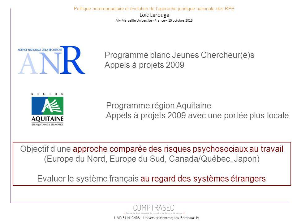 Programme blanc Jeunes Chercheur(e)s Appels à projets 2009