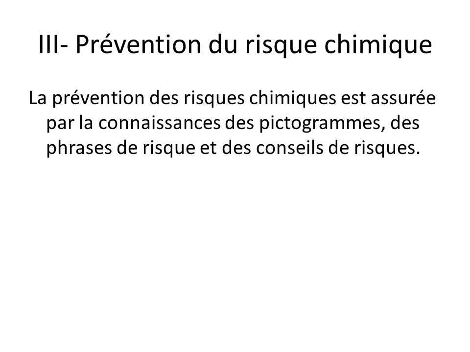 III- Prévention du risque chimique