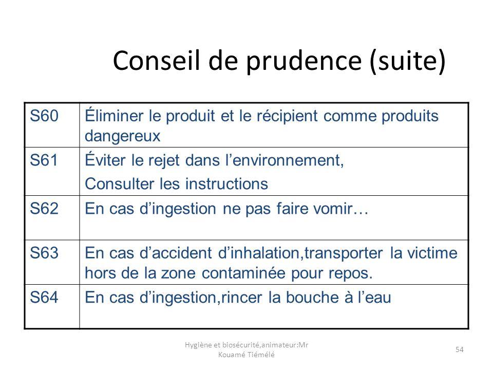 Conseil de prudence (suite)