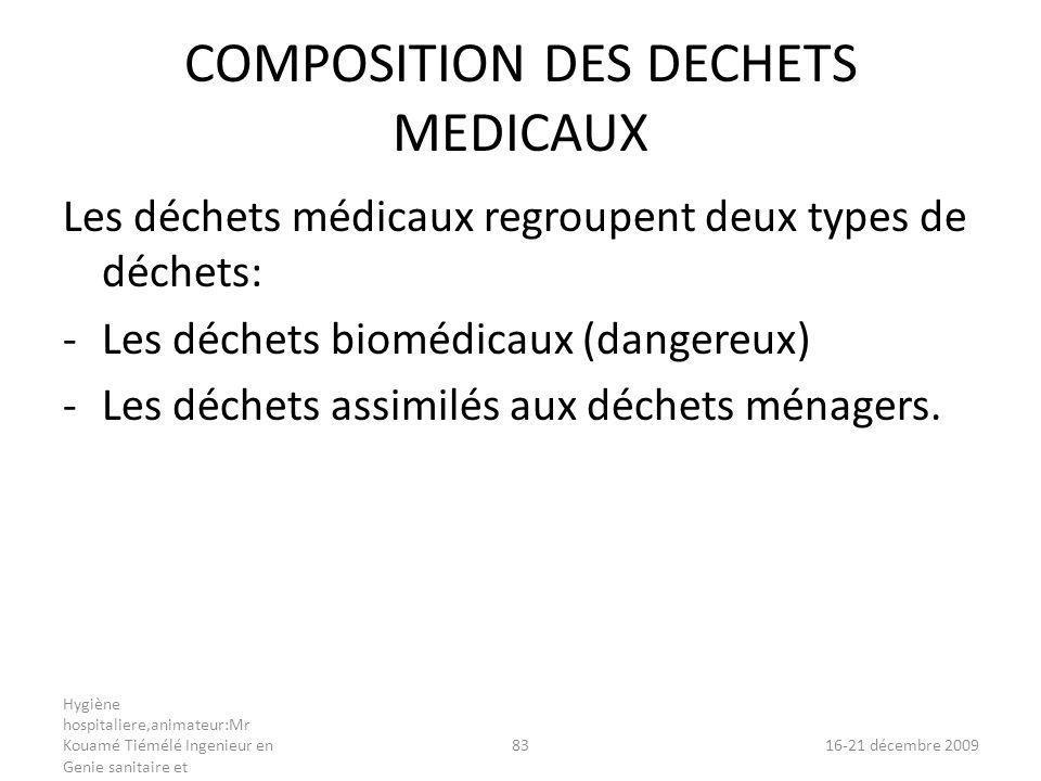 COMPOSITION DES DECHETS MEDICAUX
