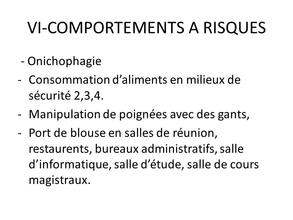 VI-COMPORTEMENTS A RISQUES